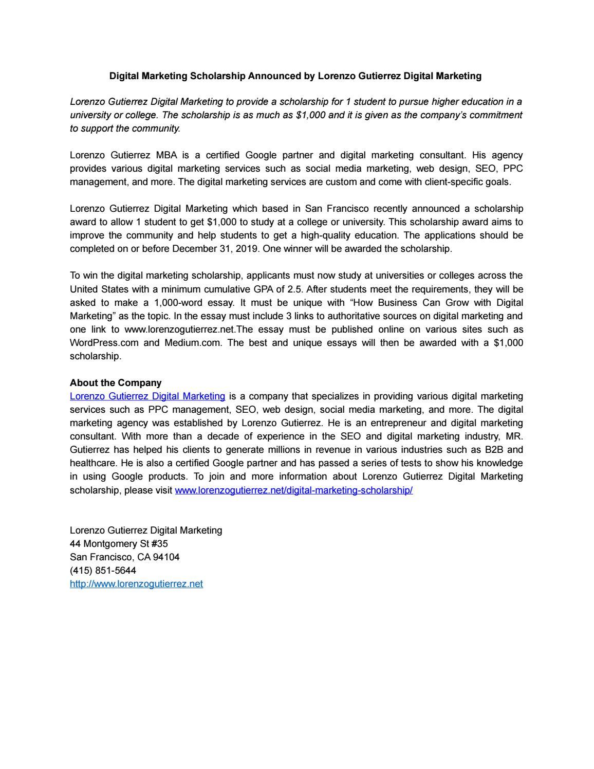 1000 Digital Marketing Scholarship Award Announced By Demetrius Ad Issuu