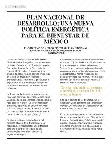 Page 4 of PLAN NACIONAL DE DESARROLLO; UNA NUEVA POLÍTICA ENERGÉTICA PARA EL BIENESTAR DE MÉXICO