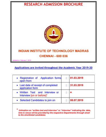 PhD Biotechnology Admissions 2019-20 @ IIT Madras by