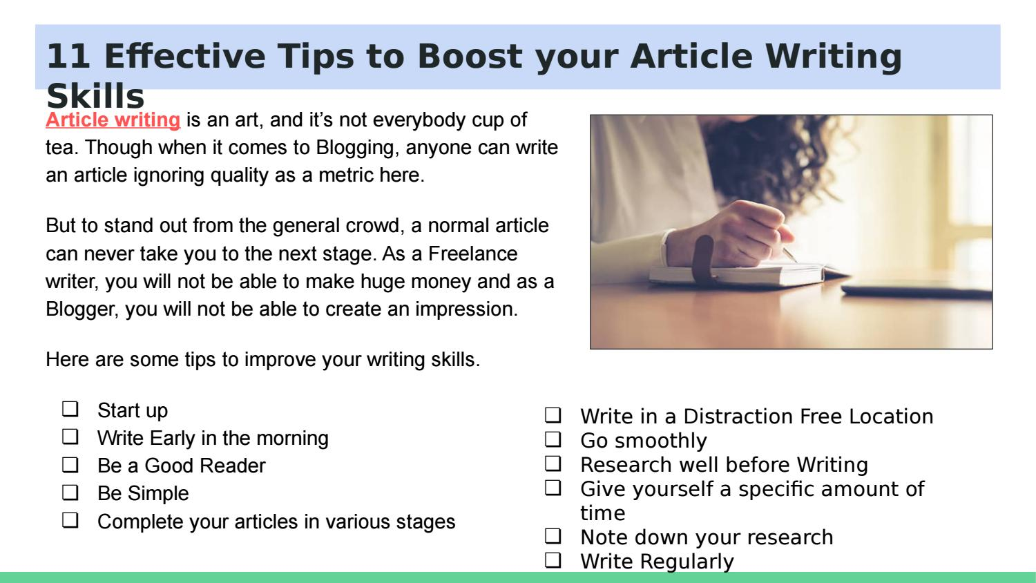 6 Effective Tips to Boost your Article Writing Skills by Barry