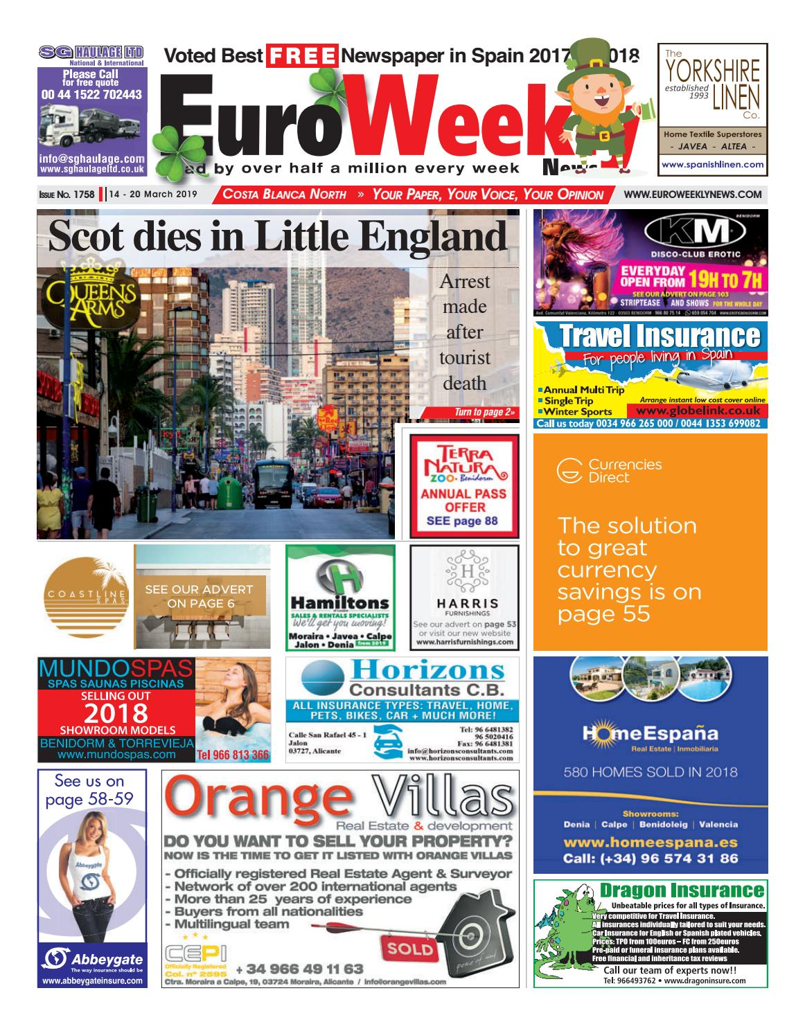 5a671e60b0 Euro Weekly News - Costa Blanca North 14 - 20 March 2019 Issue 1758 by Euro  Weekly News Media S.A. - issuu