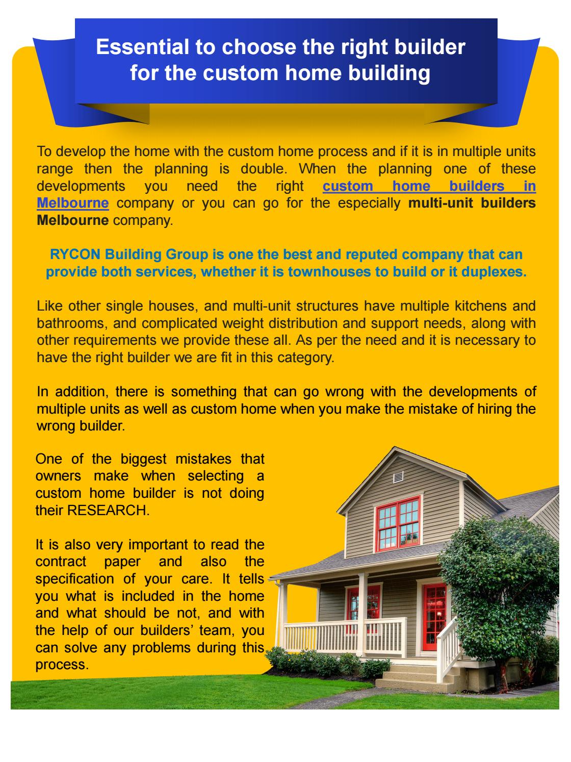 Essential To Choose The Right Builder For The Custom Home Building By Mickym Mil Issuu