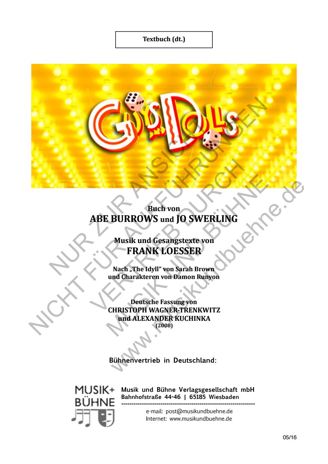 Guys And Dolls Textbuch By Musik Und Bühne Issuu