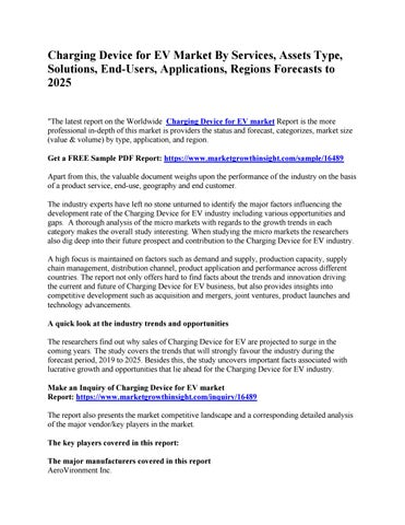 Page 1 of Charging Device for EV Market By Services, Assets Type, Solutions, End-Users, Applications, Regions Forecasts to 2025