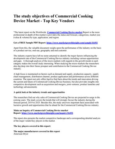 Page 1 of The study objectives of Commercial Cooking Device Market - Top Key Vendors