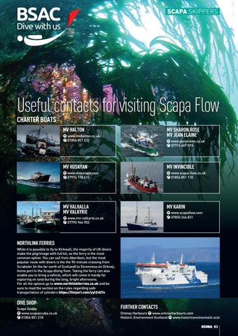Page 83 of Useful contacts for visiting Scapa Flow