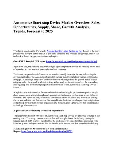 Automotive Start-stop Device Market Overview, Sales