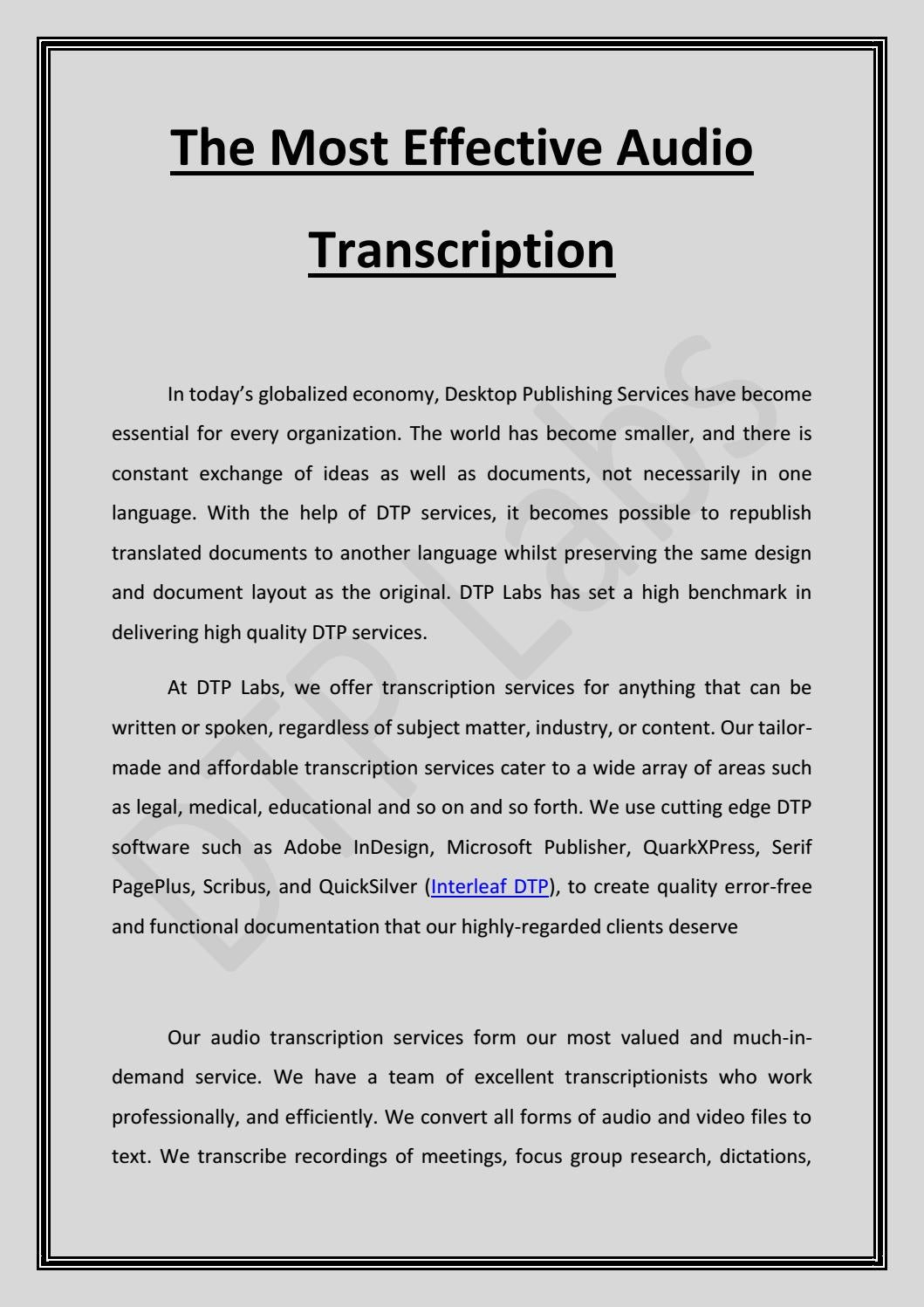 The Most Effective Audio Transcription by DTP Labs - issuu