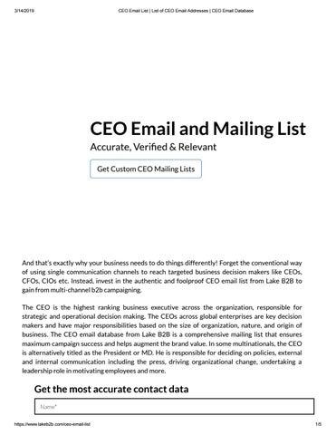 CEO Email List - Lake B2B by Lake B2B - issuu
