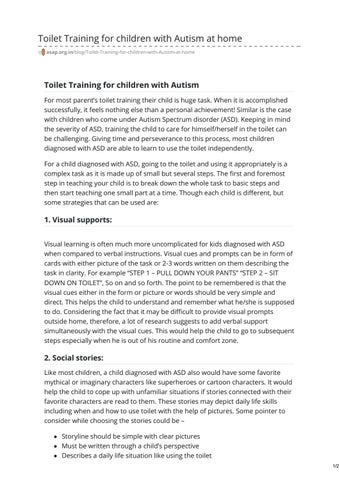 Page 1 of Toilet Training for children with Autism at home