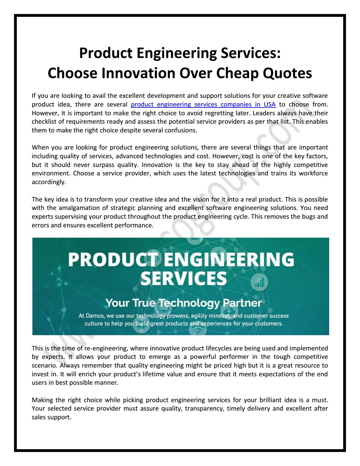 Product Engineering Services Choose Innovation Over Cheap Quotes By