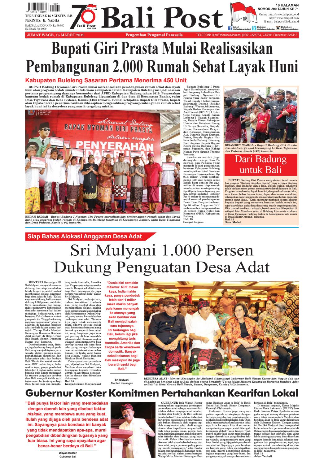 Edisi Jumat 15 Maret 2019 Balipost Com By E Paper Kmb Issuu