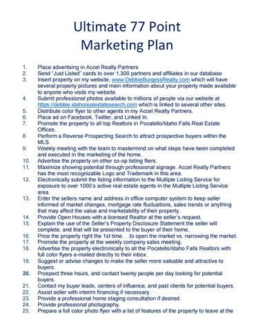Ultimate 77 Point Marketing Plan by Debbie Burgess Realty - issuu