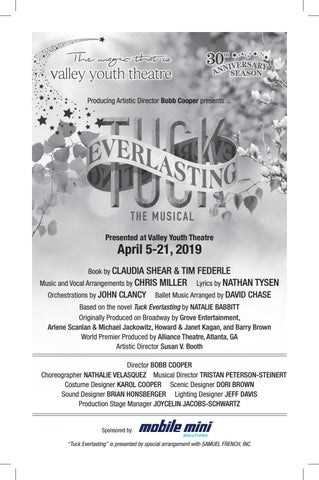 VYT Tuck Everlasting, The Musical Playbill, April 5-21, 2019