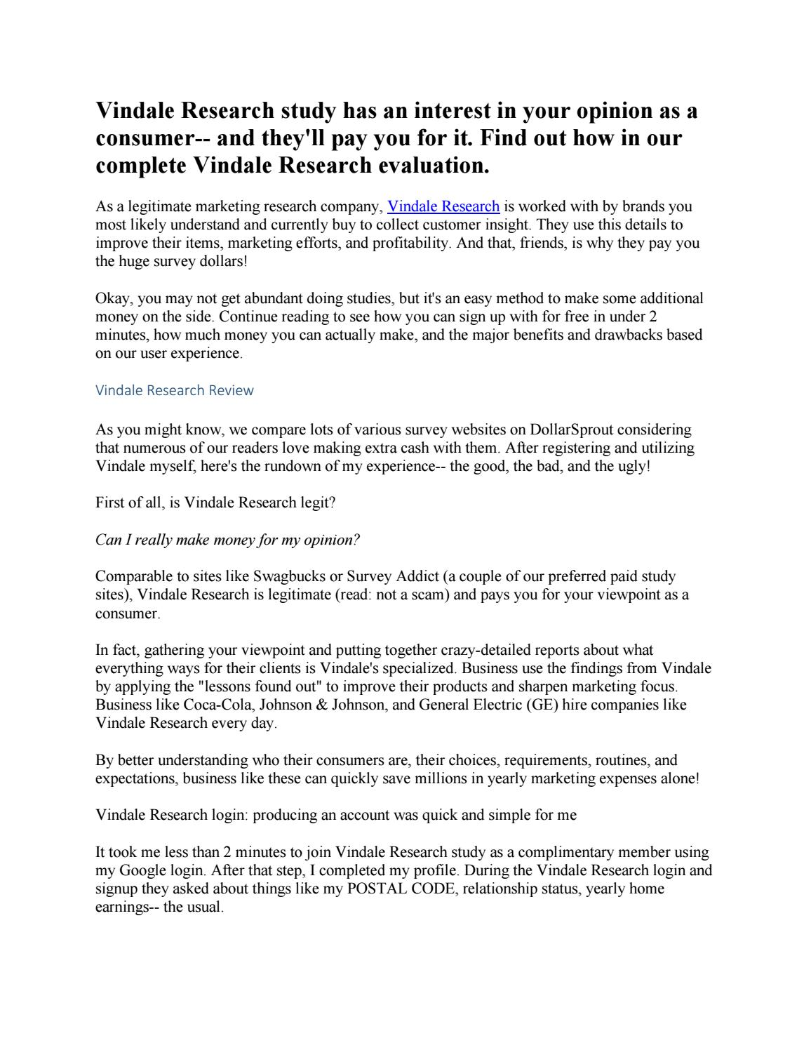 Vindale Research Review: Legit or Scam?
