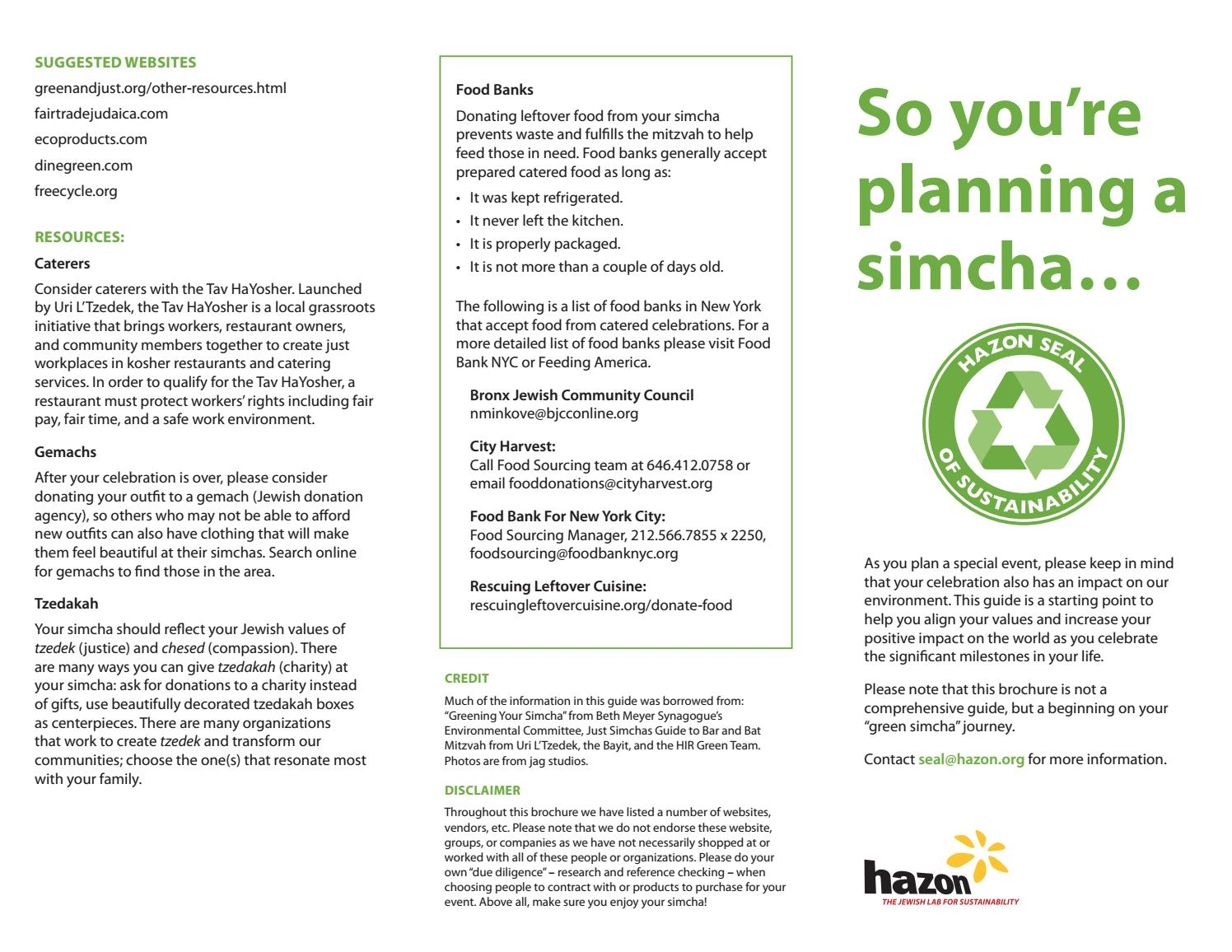 Hazon Seal Simchas Guide Trifold Nyc By Hazon Issuu