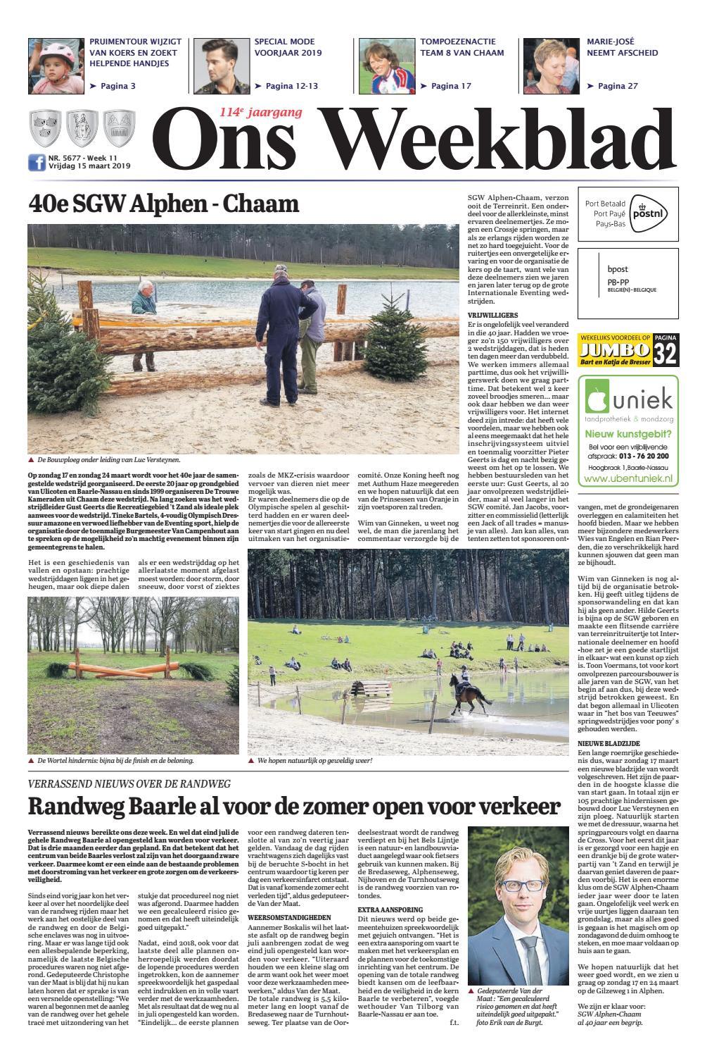 0d0ccb10bd7c18 Ons Weekblad 15-03-2019 by Uitgeverij Em de Jong - issuu