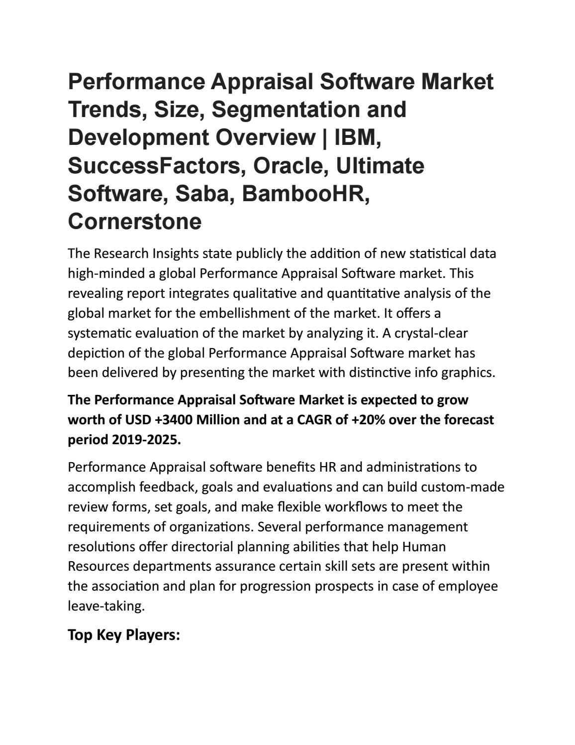 Performance Appraisal Software Market by researchinsights1