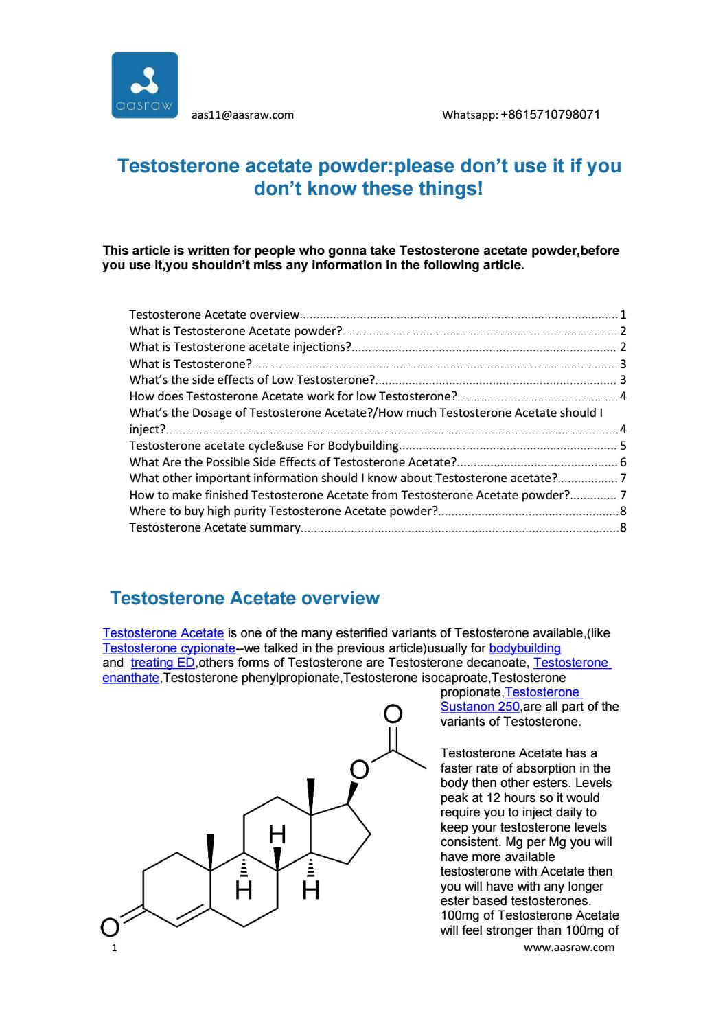 Testosterone acetate powder:please don't use it if you don't