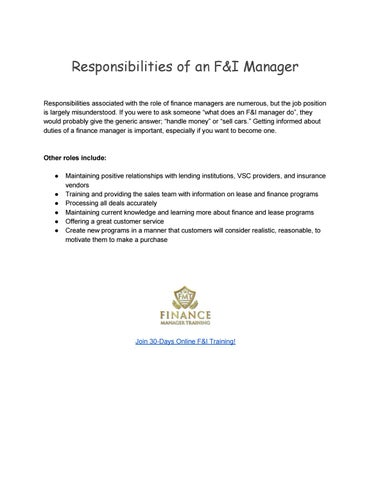 Key Responsibilities Of An F I Manager By Finance Manager Training Issuu