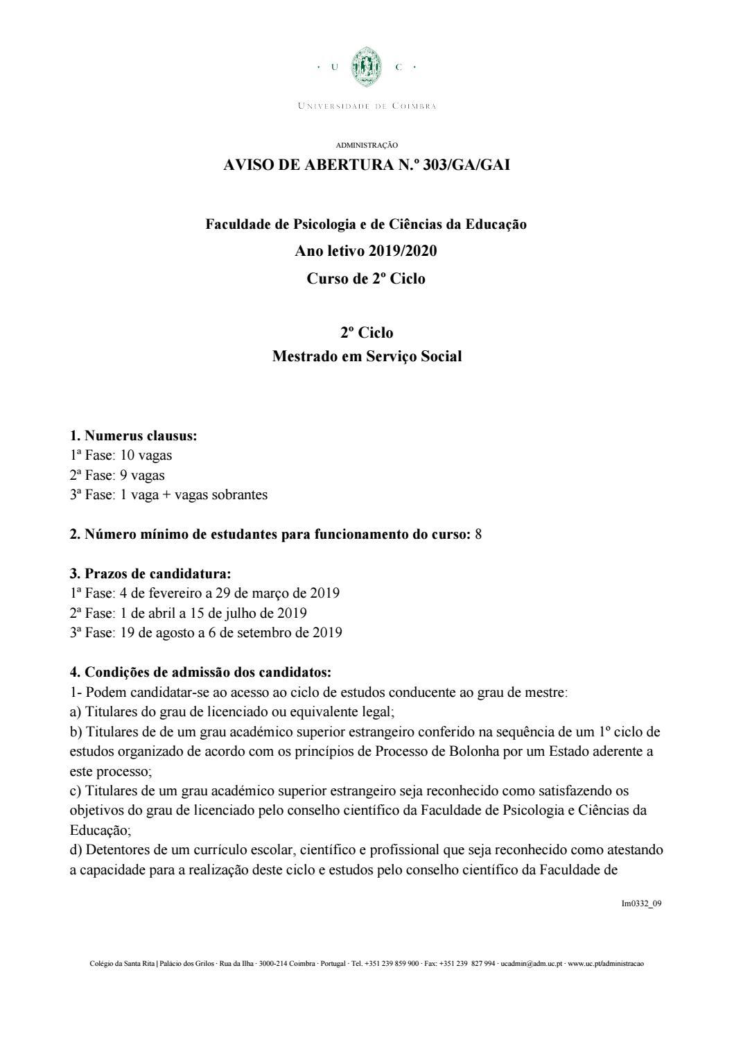 Edital Candidaturas Mss 2019 2020 By Helena Neves Almeida