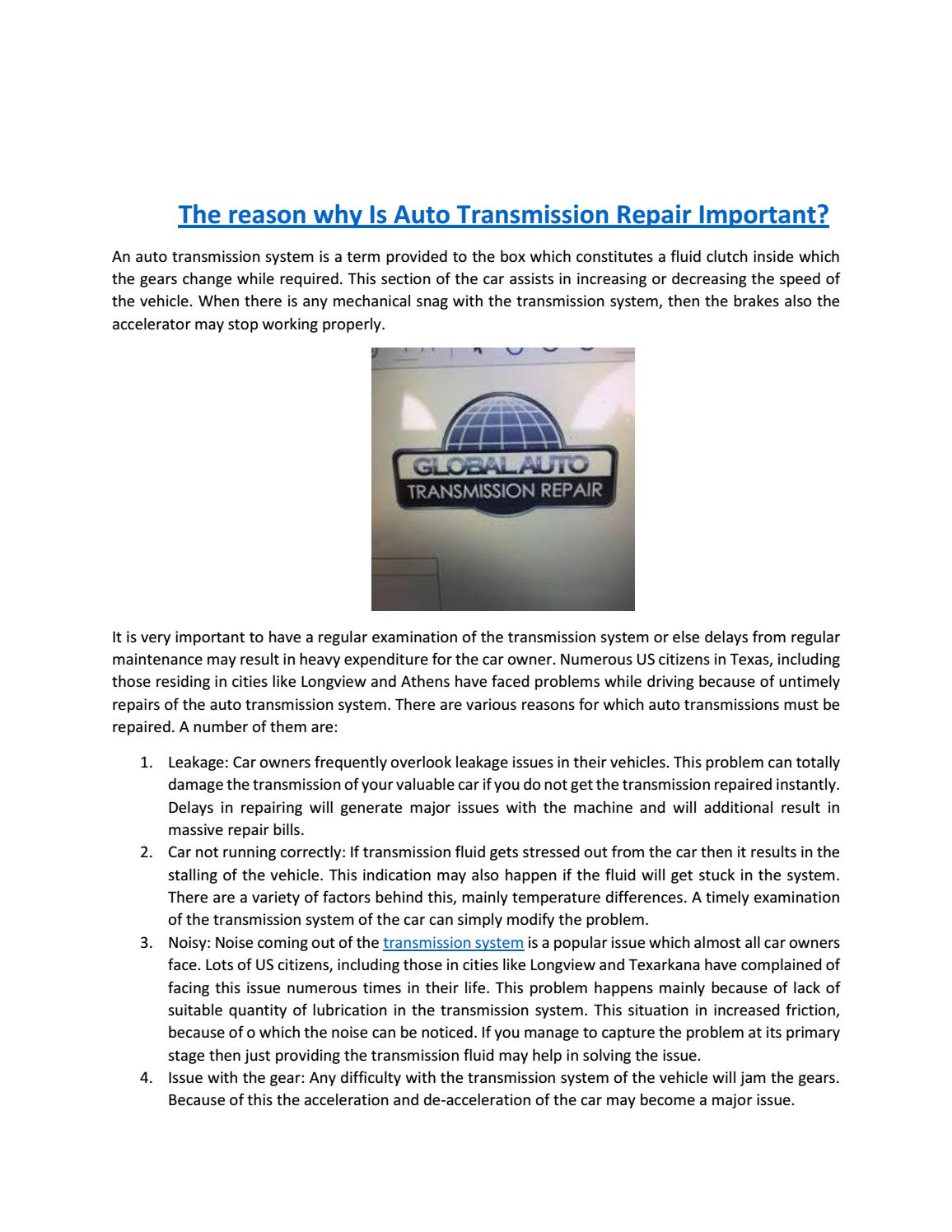 Auto Transmission Repair >> The Reason Why Is Auto Transmission Repair Important By