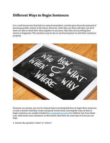 Different Ways to Begin Sentences by BIG IDEAZ EDUCATION - issuu