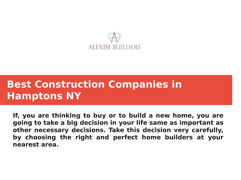 Best Construction Companies in Hamptons NY