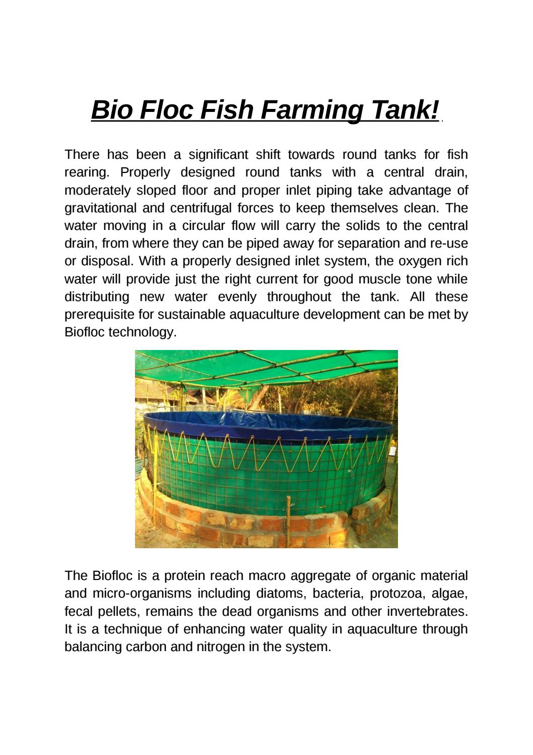 Biofloc Fish Farming Tank by Mohan Tarp - issuu