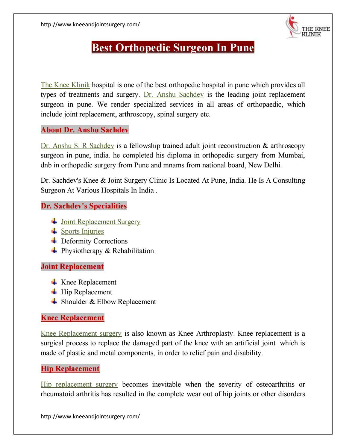 Best Orthopedic Clinic |surgery In Pune | Thekneeklinik by