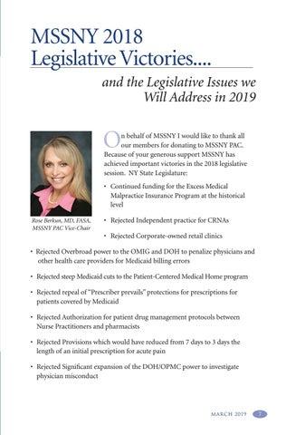 Page 11 of MSSNY 2018 Legislative Victories