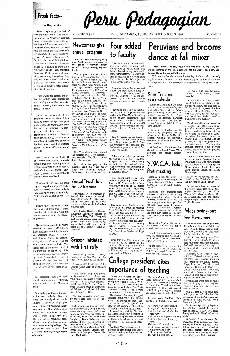 41f142b2a2c8 1944-1945 Peru Pedagogian - issues 1-16 by Peru State College Library -  issuu