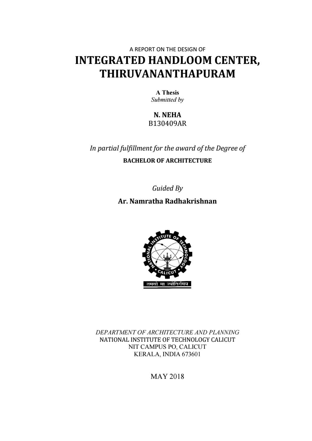 Thesis On Integrated Handloom Center Thiruvananthapuram By Neha N Issuu
