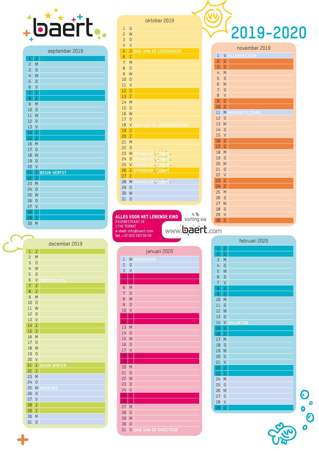 kalender 2019 2020 by baert issuu. Black Bedroom Furniture Sets. Home Design Ideas