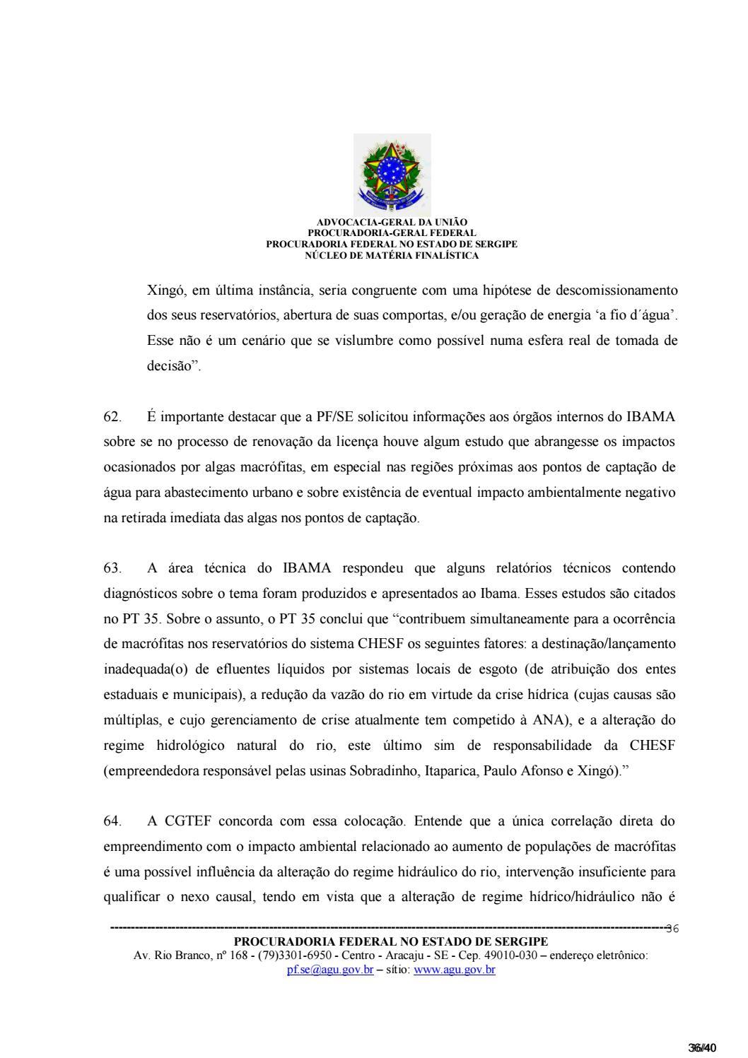 956417b9b ACP (proc.0800279-14.2016.4.05.8504) - Invasão Algas e Macrófitas no Baixo  São Fco. Vol IV by Canoa Docs - issuu