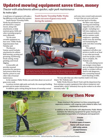 Page 12 of Updated mowing equipment saves time, money in South Fayette Township