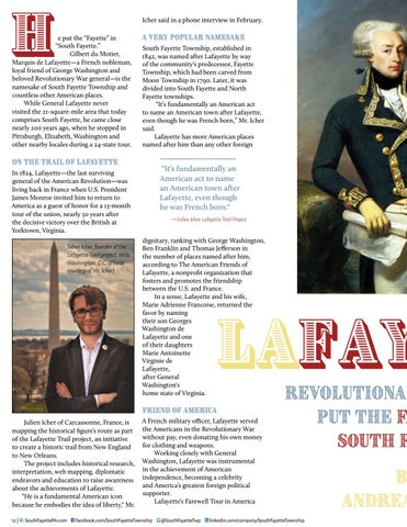 Page 14 of Lafayette: Revolutionary War Hero Put the FAYETTE in SOUTH FAYETTE