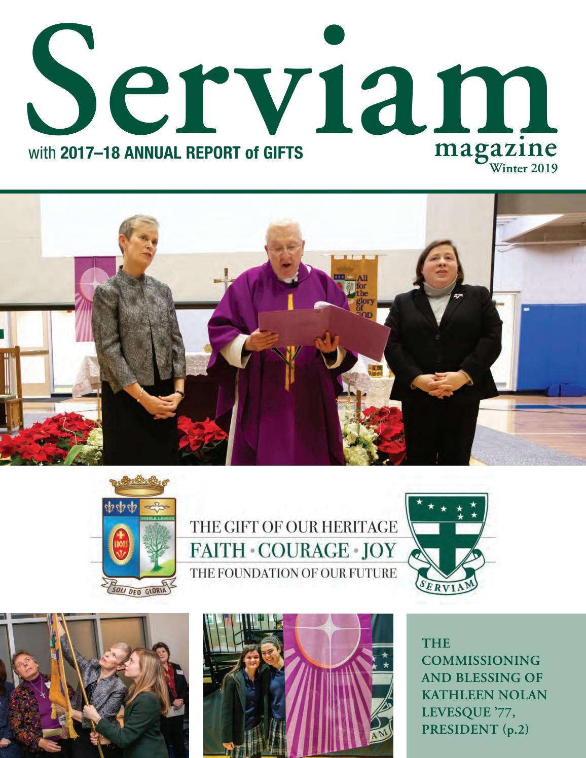 Serviam Magazine with 2017-18 Annual Report of Gifts by Ursuline