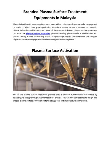 Branded Plasma Surface Treatment Equipments in Malaysia by Alpha