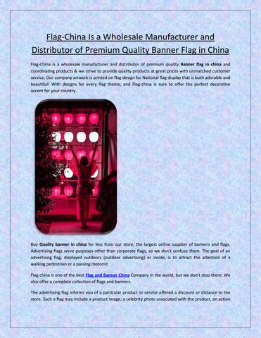 Flag-China Is a Wholesale Manufacturer and Distributor of