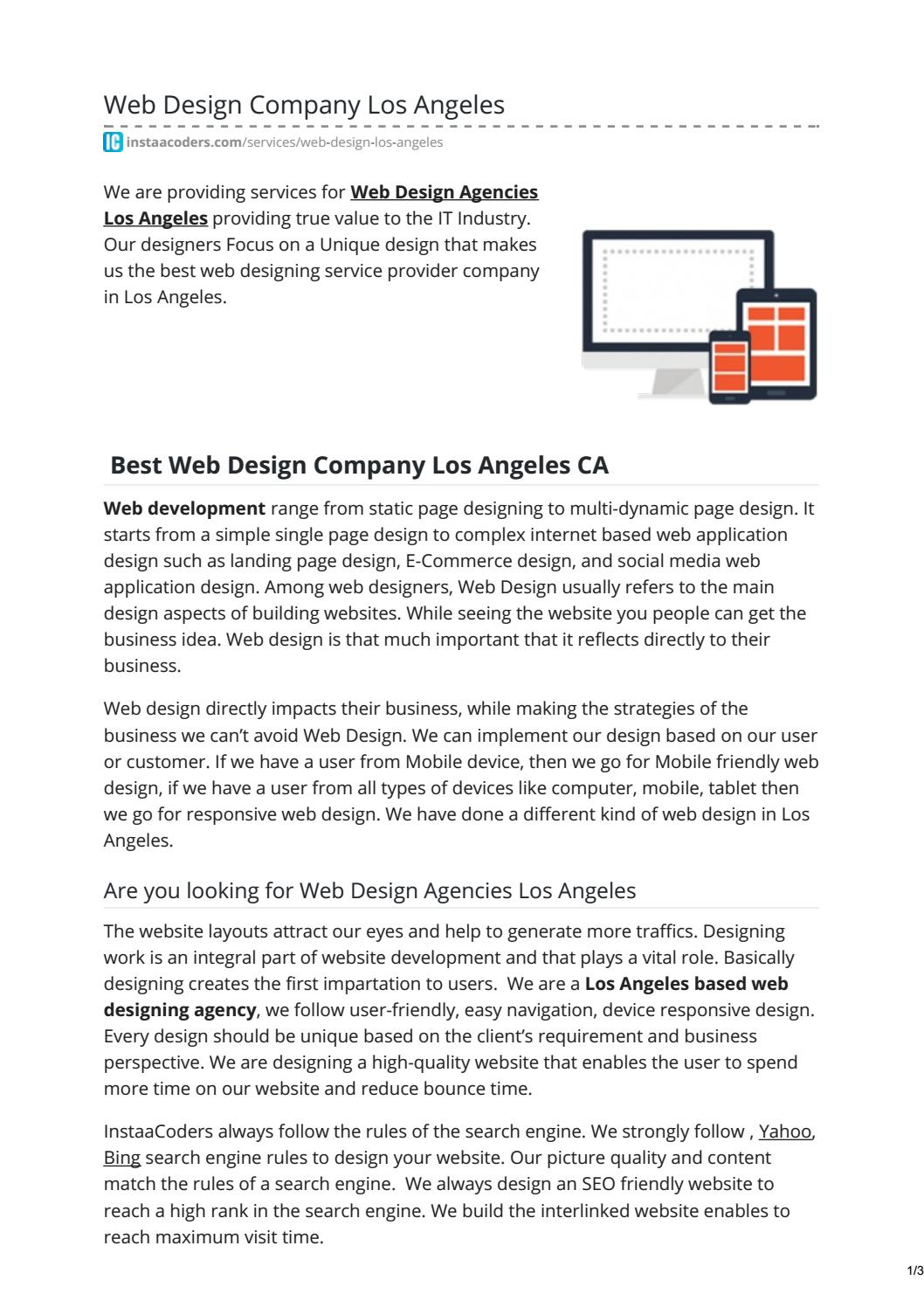 Best 5 Web Design Agencies Los Angeles by InstaaCoders Technologies