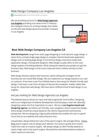 Best 5 Web Design Agencies Los Angeles by InstaaCoders Technologies