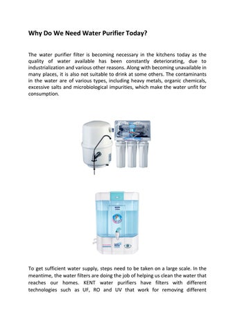 Why Do We Need Water Purifier Today