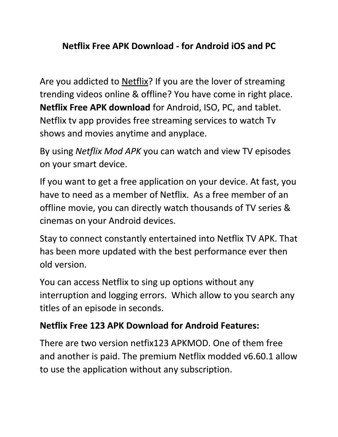 Netflix Free APK Download - for Android iOS and PC by msruthesoto