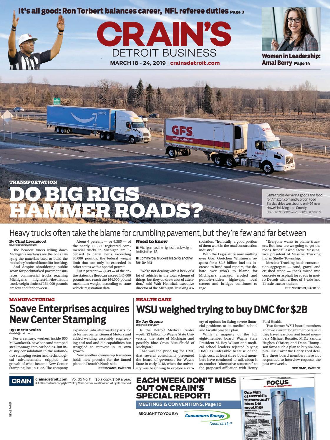Crain's Detroit Business, March 18, 2019 issue by Crain's Detroit