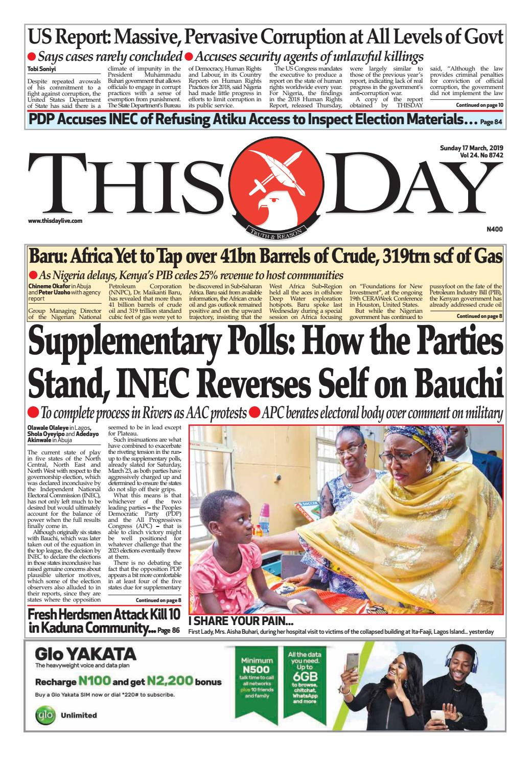SUNDAY 17TH MARCH 2019 by THISDAY Newspapers Ltd - issuu