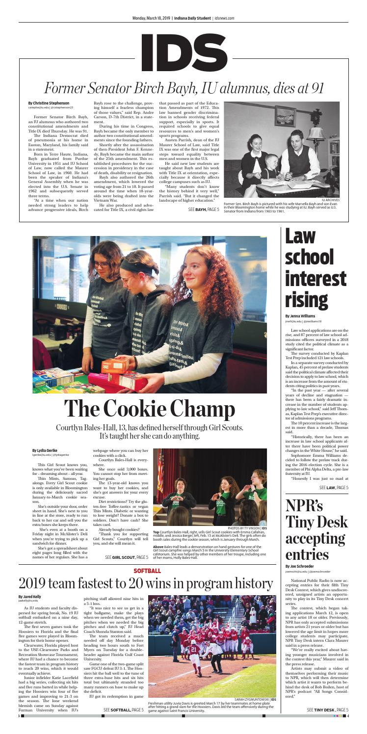 Monday, March 18, 2019 by Indiana Daily Student - idsnews