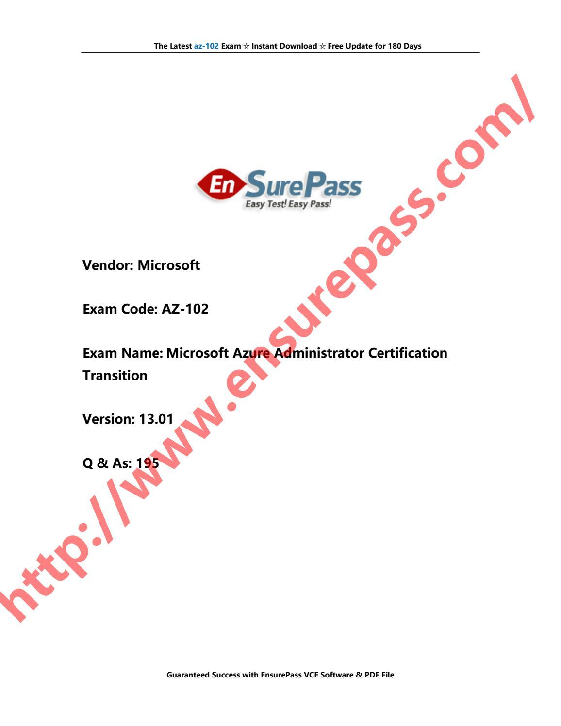Ensurepass Microsoft AZ-102 V13 01 195Q by