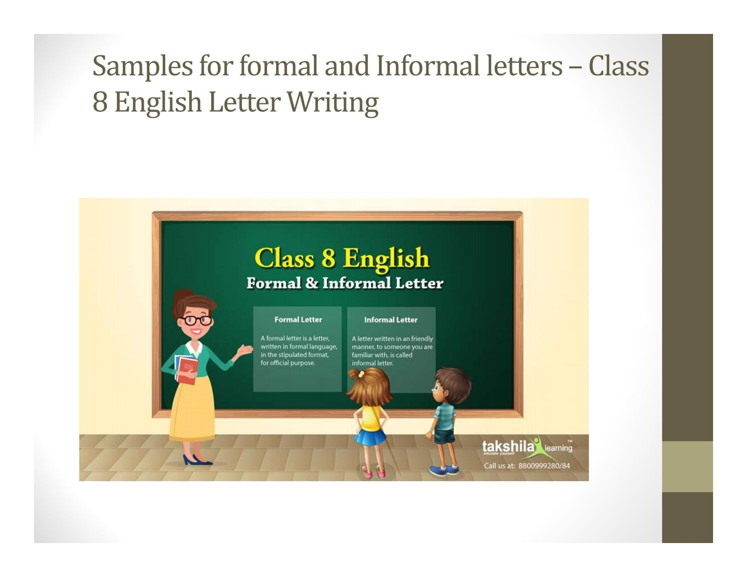 Samples for formal and Informal letters – Class 8 English
