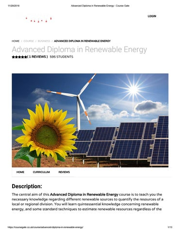 Advanced Diploma in Renewable Energy - Course Gate by Course